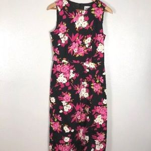 Danny & Nicole Black Pink Floral Print Dress Sz 6